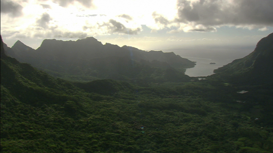 Moorea, aerial view of the bays, windward islands