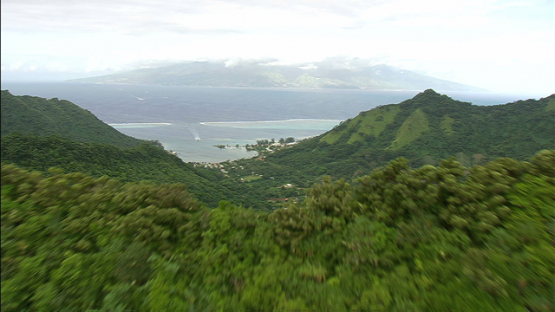 Moorea, aerial view over the ridge of Vaiare, windward islands