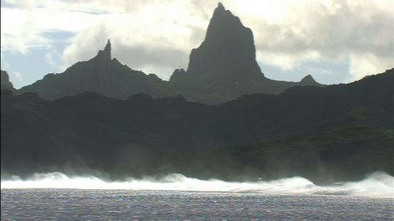Moorea, aerial view of mount Mou a Roa from behind the barriere reef, windward islands
