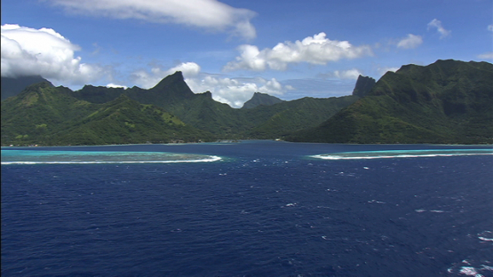 Aerial view of the pass Vaiare, Moorea, windward islands
