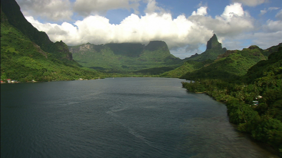 Aerial view of Opunohu Bay and mountain Mou a Roa, Moorea, windward islands