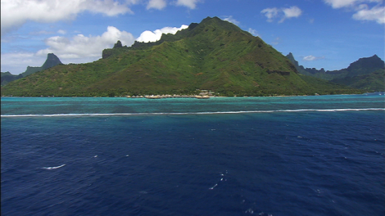 Moorea aerial view, Hotel and mount Rotui, windward islands