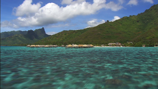 Moorea aerial view, overwater hotel in the lagoon, windward islands