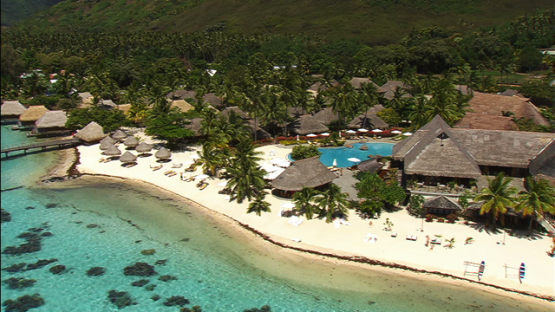 Moorea aerial view, overwater bungalow of luxury hotel, windward islands
