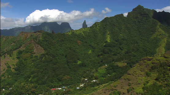 Moorea aerial view, Papetoai valley, windward islands