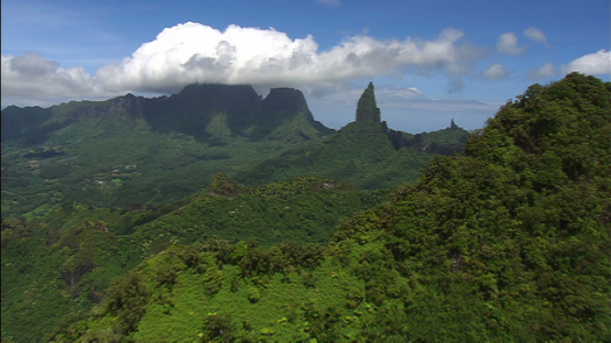 Moorea aerial view of peak of mount Mou a Roa, windward islands