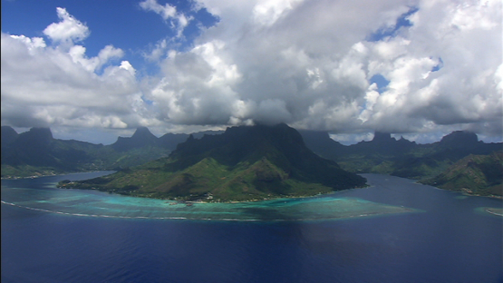 Moorea aerial view, and her two bays, windward islands