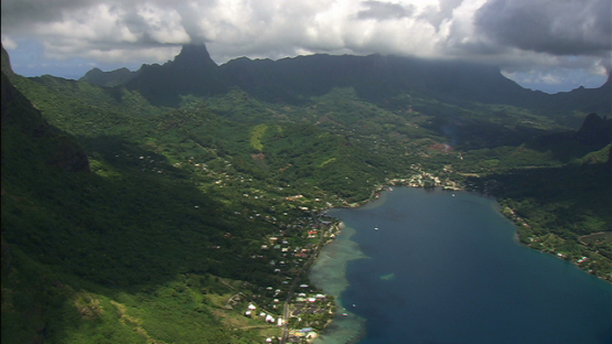Moorea aerial view, Cook s bay,  windward islands