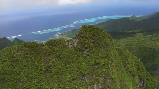 Aerial view of the peak and hole of mount Mou a Puta, Moorea, windward islands