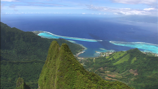 Aerial view of the peak of mount Mou a Puta, Moorea, windward islands