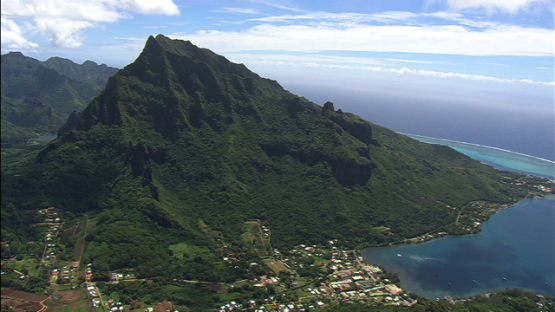 Moorea aerial view, Cook s bay and mount Rotui, windward islands