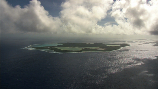 Maiao aerial view under the clouds, windward islands