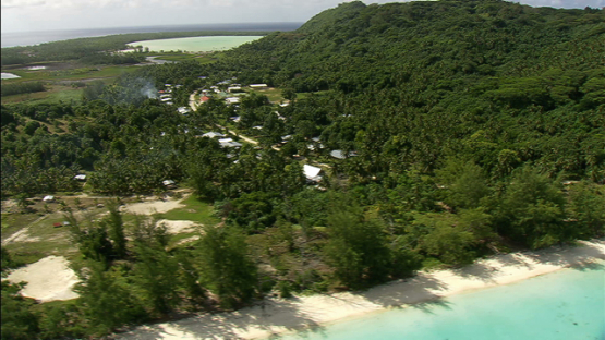 Village of Maiao, aerial view, windward islands