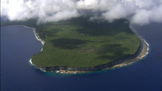 Aerial view of Makatea, tuamotu archipelago