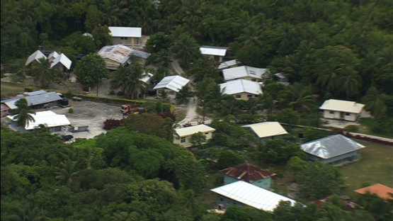 Aerial view of the village of Makatea, tuamotu archipelago