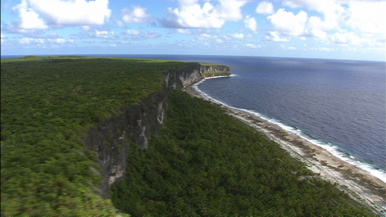Makatea, aerial view of the cliffs and reef, Tuamotu islands
