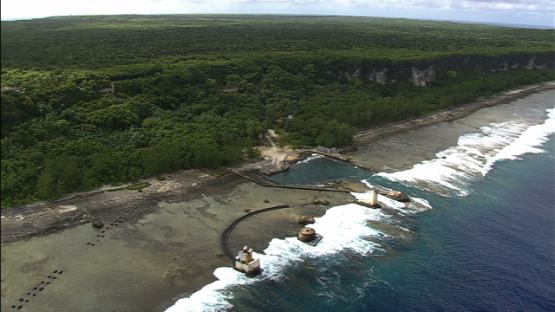 Aerial view of Makatea, port of old phosphate mine, tuamotu archipelago