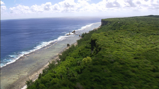 Aerial view of the old pier of Makatea by the sea, Tuamotu islands