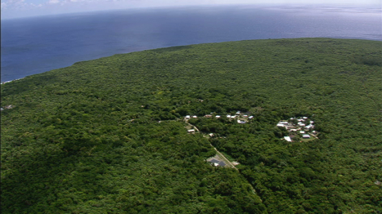 Makatea, Aerial view of the village, Tuamotu islands