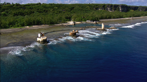 Aerial view of remains of old pier of Makatea by the sea, Tuamotu islands