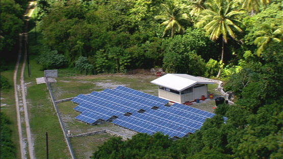 Makatea, aerial view of solar panels of electricity station, Tuamotu islands