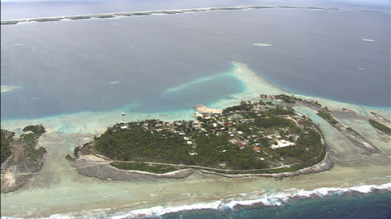 Ahe, aerial view of the village Tenukupara, Tuamotu archipelago