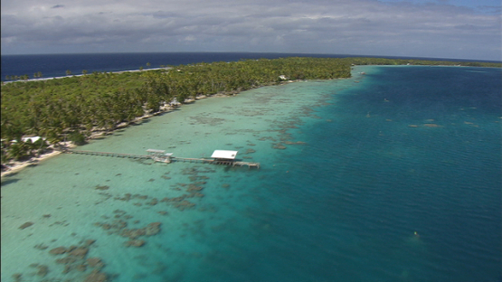 Ahe, aerial view of a pearl farm in the lagoon, Tuamotu archipelago