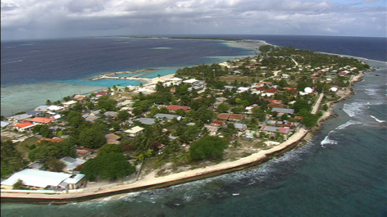 Manihi, aerial view of the village Turipaoa, Tuamotu archipelago
