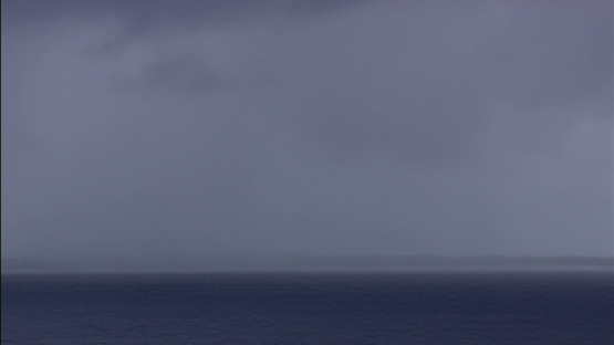 Aerial view of Rain and wind on ocean, Fakarava, Tuamotu archipelago