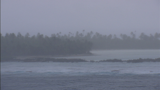 Aerial view of Rain and wind on island, Fakarava, Tuamotu archipelago