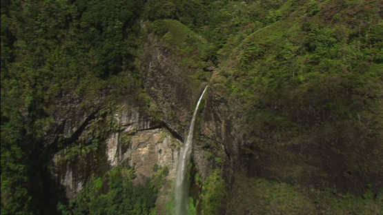 Tahiti, aerial view of Fataua waterfall in the valley, windward islands