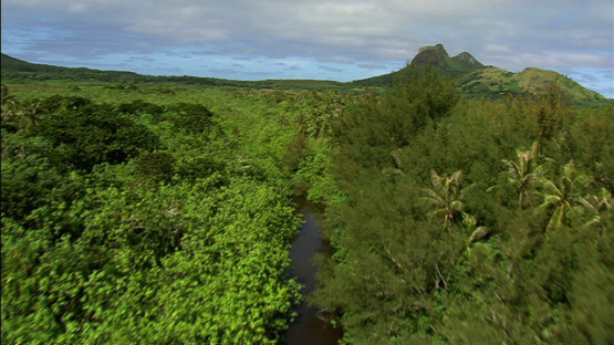 Tubuai, aerial view of the river and the mountain, austral islands