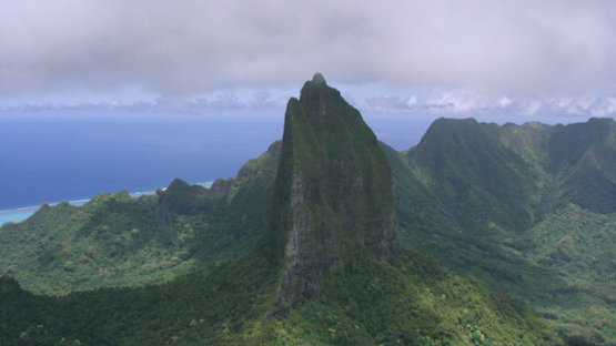 Moorea, aerial view of peak of the mountain Moua Roa, windward islands, 4K UHD