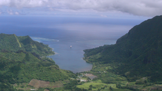 Moorea, aerial view of Opunohu Bay, windward islands, 4K UHD