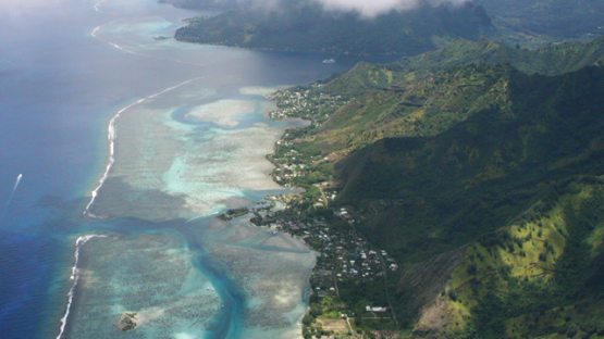 Moorea, aerial view of the lagoon and Opunohu bay under the clouds, 4K UHD