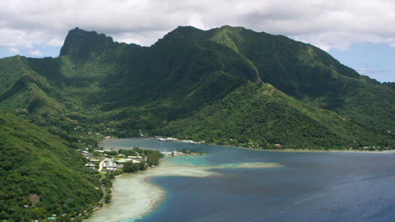 Moorea, aerial view of Cook s Bay and the lagoon, windward islands, 4K UHD