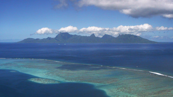 Aerial view of Moorea and ocean shot from lagoon of Tahiti, 4K UHD