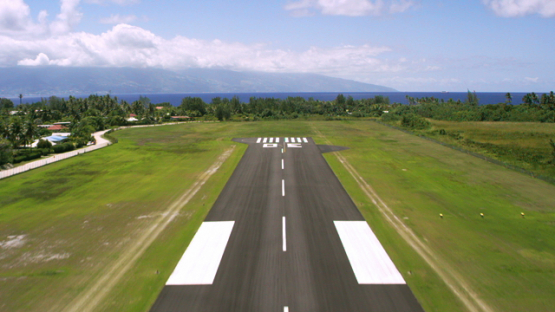 Moorea, taking off the tarmac of the airport, aerial view, 4K UHD
