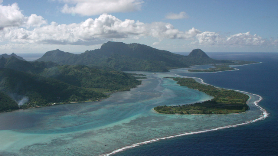Aerial view of Huahine, Leeward islands, above the lagoon, 4K UHD