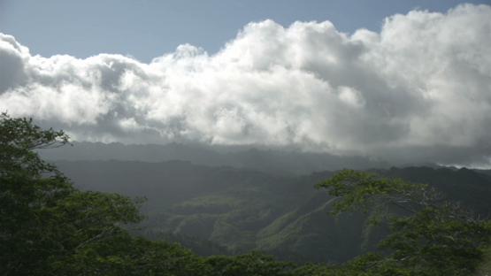Nuku Hiva, time lapse, clouds over the mountains and valley, Marquesas islands