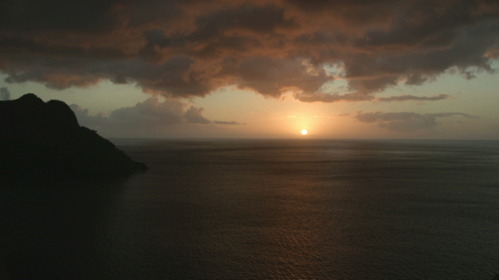 Time lapse, beautiful sunset from Tahuata in the ocean, Marquesa islands, Polynesia