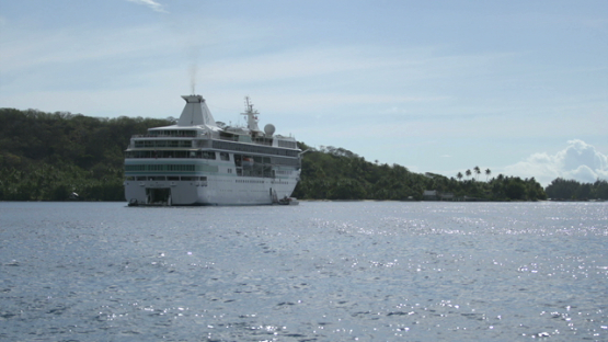Cruise ship in the lagoon of Bora Bora