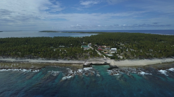 Reao, aerial drone video of the atoll and village, Tuamotu, polynesia 4K UHD