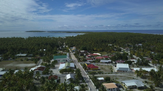 Reao, aerial drone shot  of the village, Tuamotu, french Polynesia, 4K UHD
