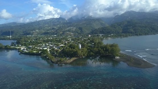 Reao, aerial drone video of the village and church, Tuamotu in french Polynesia