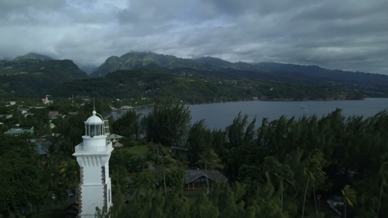 Tahiti, Pointe Venus, aerial drone video of the lighthouse and cooast, Polynesia