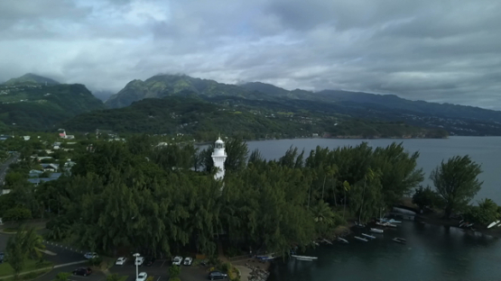 Tahiti, Pointe Venus, aerial drone video of the lighthouse and coast, Polynesia