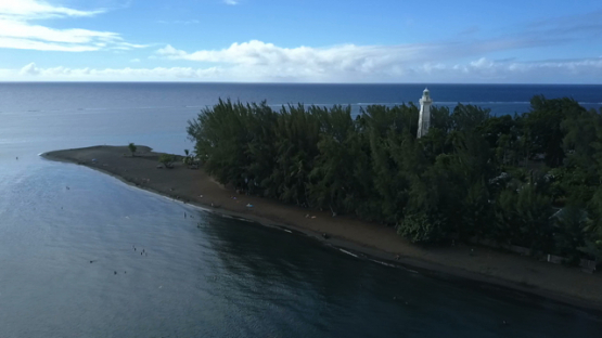 Tahiti, Pointe Venus, aerial drone video of the lighthouse and lagoon, Polynesia