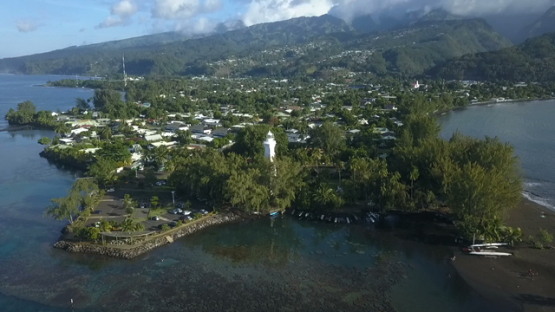 Aerial video by drone of the lighthouse of Pointe Venus, Tahiti, Polynesia