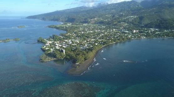 Aerial video by drone of the lighthouse of Pointe Venus and lagoon, Tahiti, Polynesia